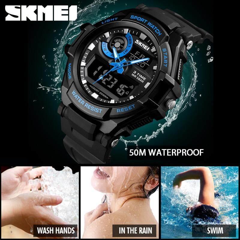 ... SKMEI Pria Fashion Olahraga Digital Jam Tangan Kasual Chronograph Alarm Countdown 3 Waktu Jam Elektronik Watch