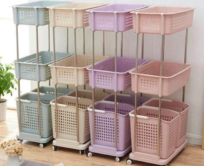【Cream Colour】3 Layer 4 Basket Laundry Basket