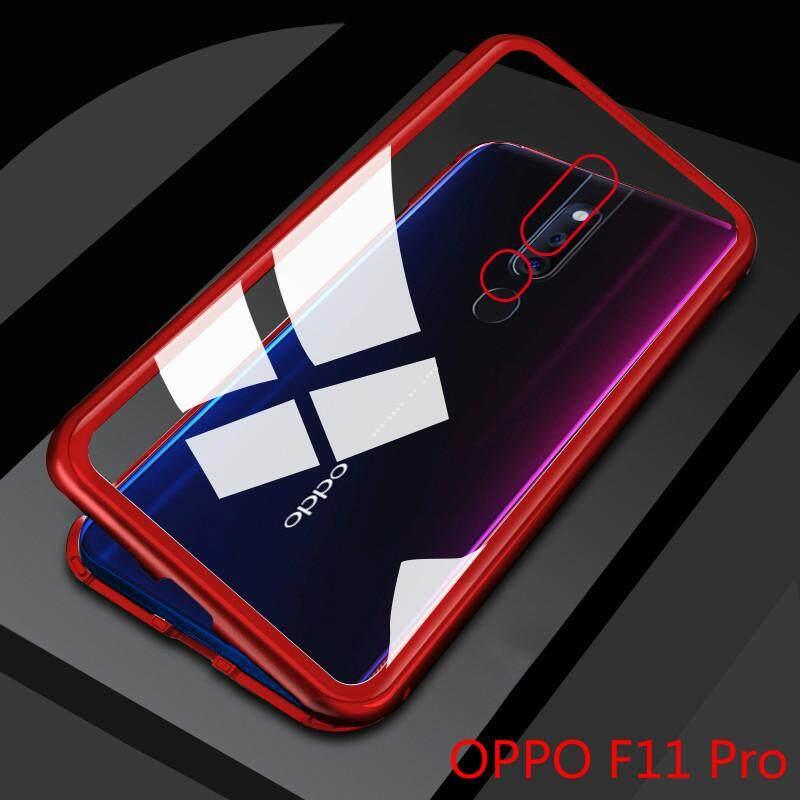 การดูดซับแม่เหล็กกันชนโลหะสำหรับ OPPO F11 Pro Slim กระจกเทมเปอร์ 2 in 1 เคสมือถืออะลูมิเนียมการดูดซับแม่เหล็ก SHELL