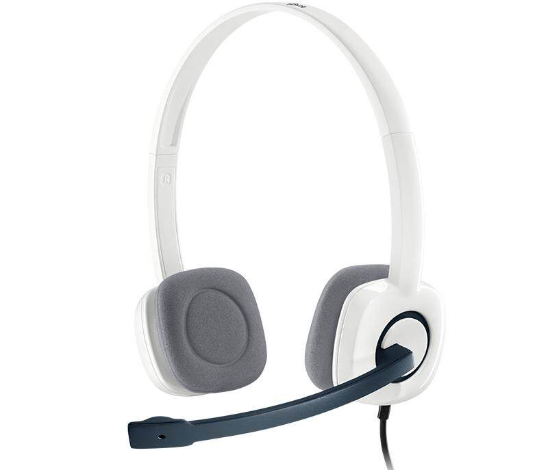Logitech H150 Stereo Headset with Noise-Cancelling Rotating Mic In-line Controls (White Version, Dual 3.5mm Plug)