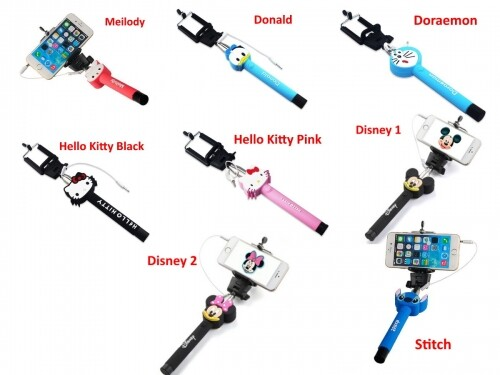 Cartoon Cute Monopod Wired Selfie Stick with BUILT-IN Remote Shutter