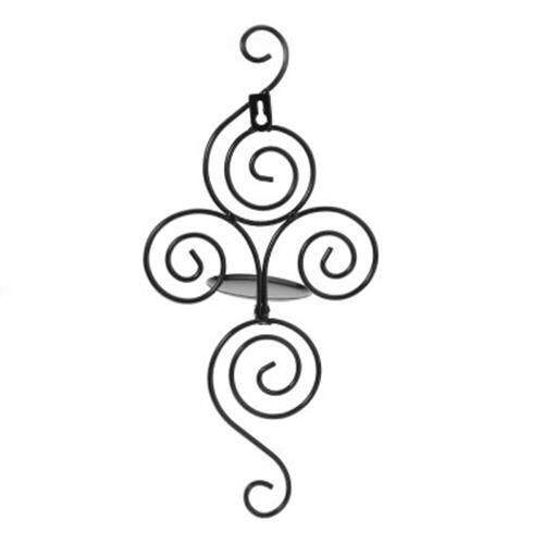 VERTICAL SWIRLING IRON CANDLE HOLDER SCONCE HANGING WALL DECORATIVE ART CANDLESTICK (BLACK)