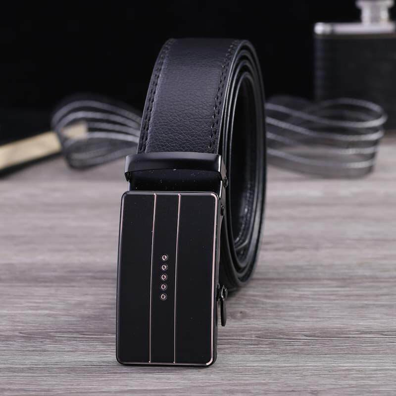 [M'sia Warehouse Direct] 2019 Korean Series Men's Automatic Buckle Black Crystal Series Belt Perfect Gift (come with box) Anti Scretch Luxury English Style Leather Belt Suitable For Formal Wear Jeans Casual Wear Belt Long Lasting Tali Pinggan Kulit Halal