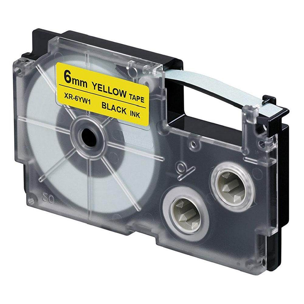 Casio Ez-Label Tape Cartridge - 6mm, Black on Yellow (XR-6YW1)