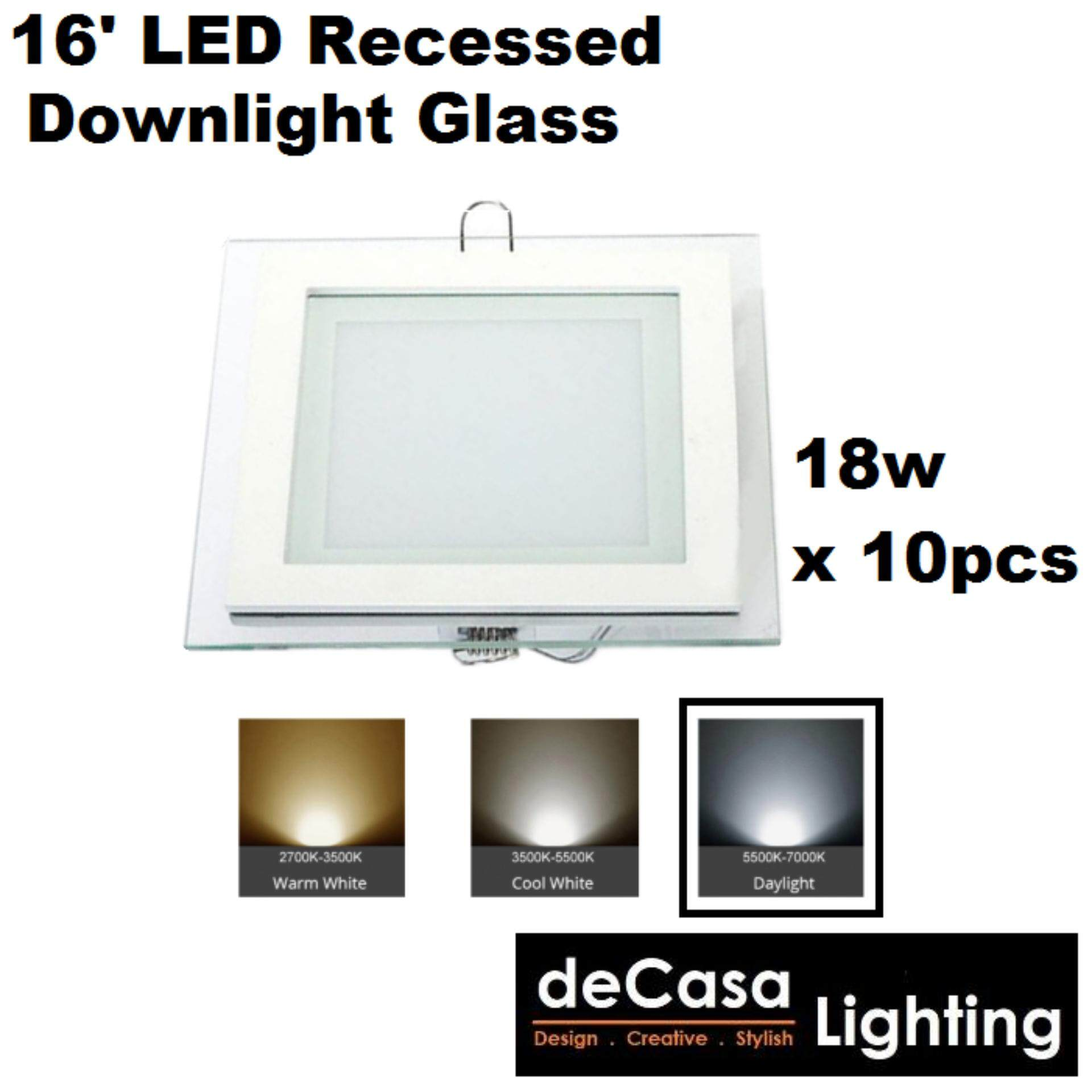 "x10Pcs 18W 6""Inch Led Panel Downlight Glass Square LED Ceiling Recessed Light Daylight(White)"