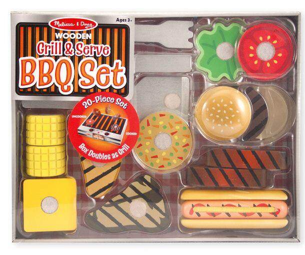 [All4kids] Melissa & Doug Grill and Serve BBQ Set (20 pcs) - Wooden Play Food and Accessories