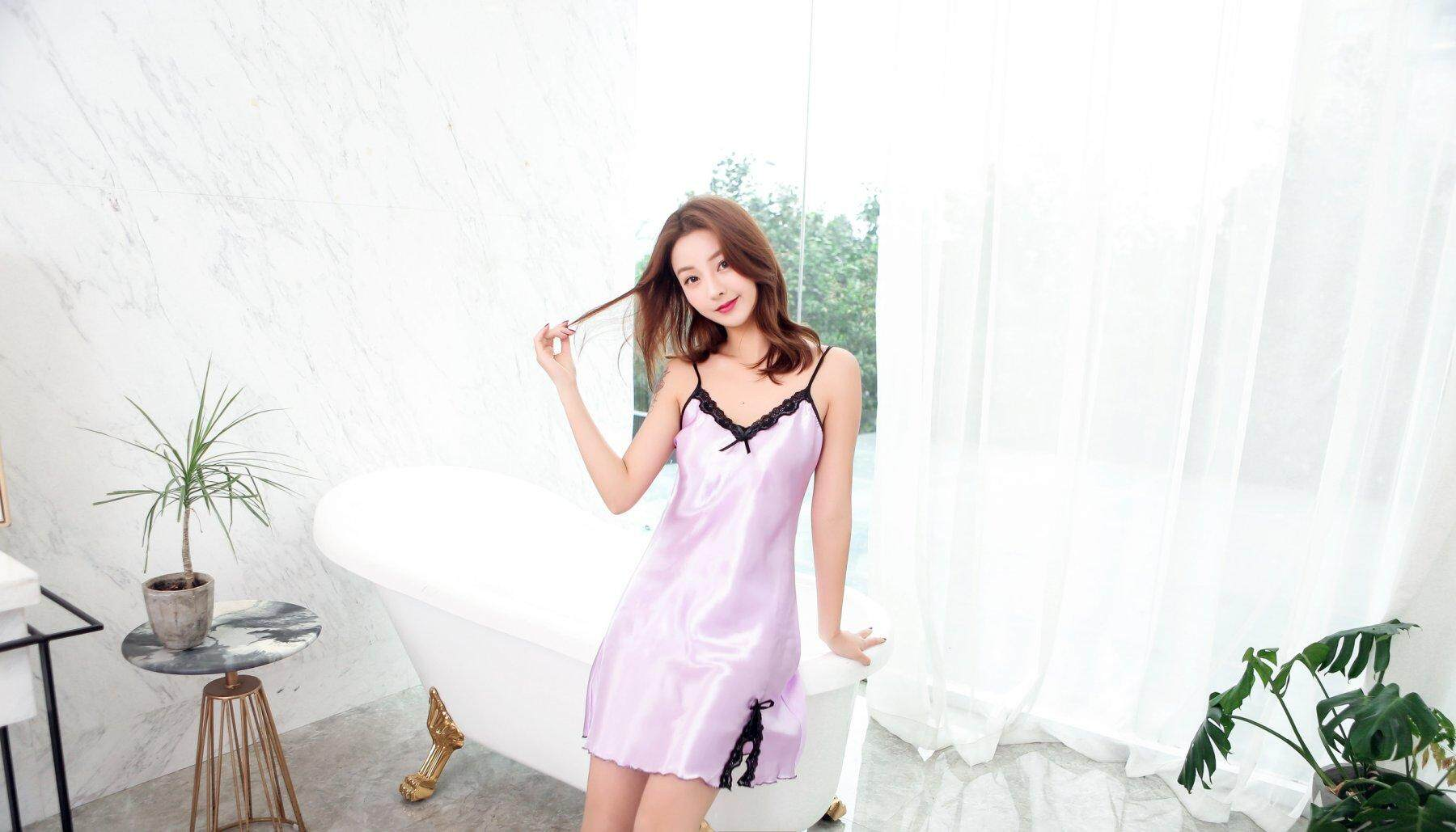 【LIMITED & READY 4 YOU】Superb Women Sexy Short Dress Pyjamas With Premium Grade Quality Silk(Blue/Red/Black/Pink/Lavender Purple/Wine Red - Free Size)