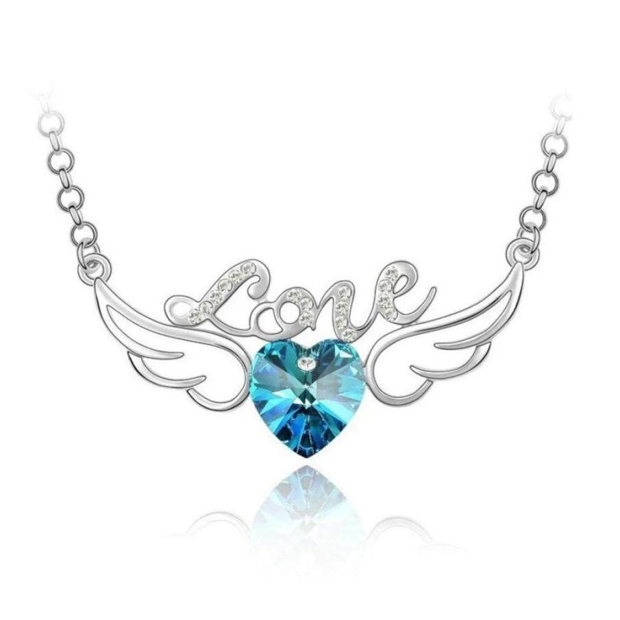 Korean Angel Necklace (Crystal Blue)
