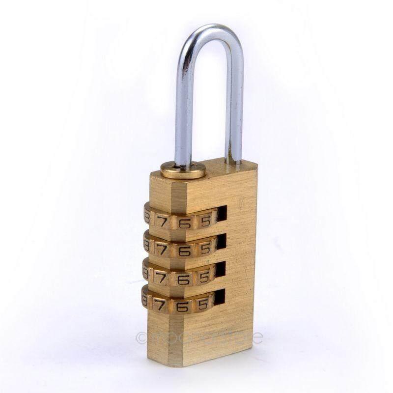 Emas Logam 4 Dial Digit Nomor Kata Sandi Kunci Kode Kombinasi Bagasi Gembok