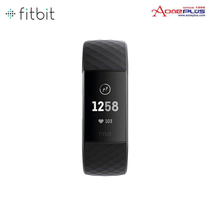 Fitbit Charge 3 Fitness Activity Tracker (Graphite/Black)+Plum Leather Band
