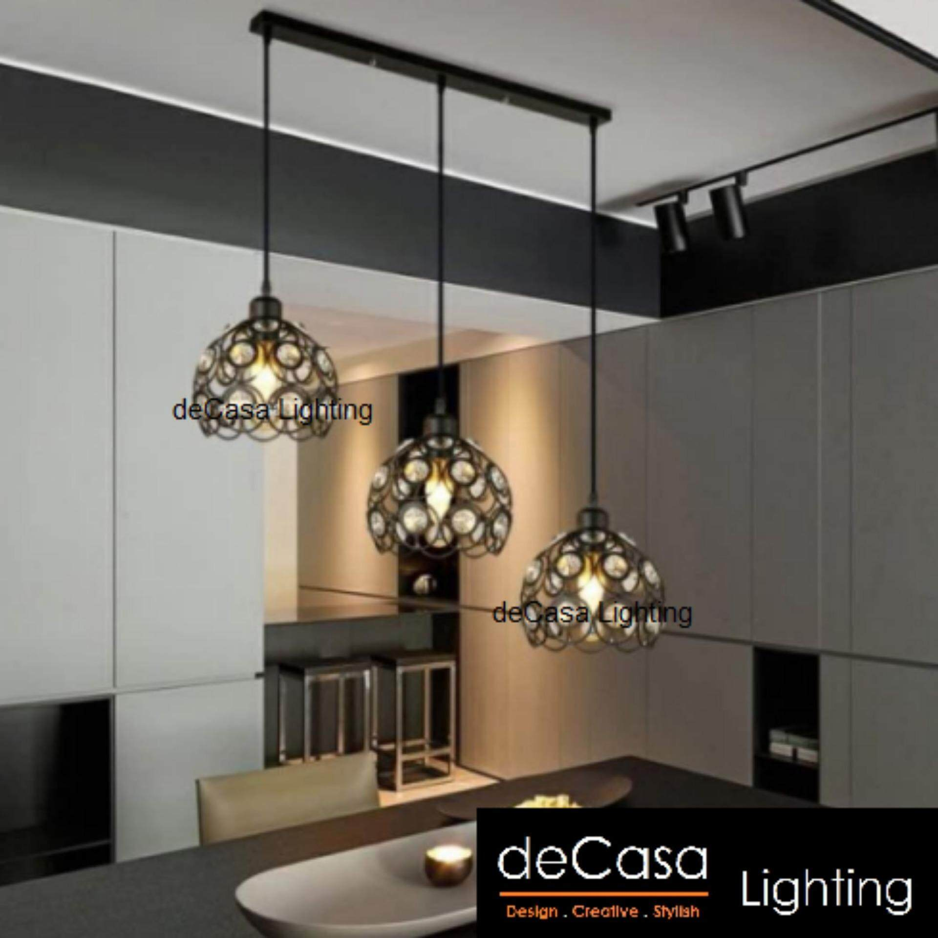 Set of 3 pendant light decasa lighting ceiling lights modern style crystal ceiling lamp black white lampshade long base hd 1303 200 3