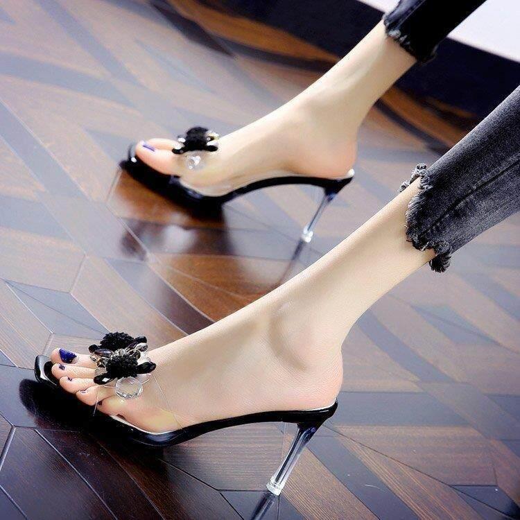 รองเท้าแตะสำหรับสตรีรองเท้าส้นสูงรองเท้าแตะสีโปร่งใสSelipar Wanitaเกาหลีสไตล์Kasut Perempuan 2020New