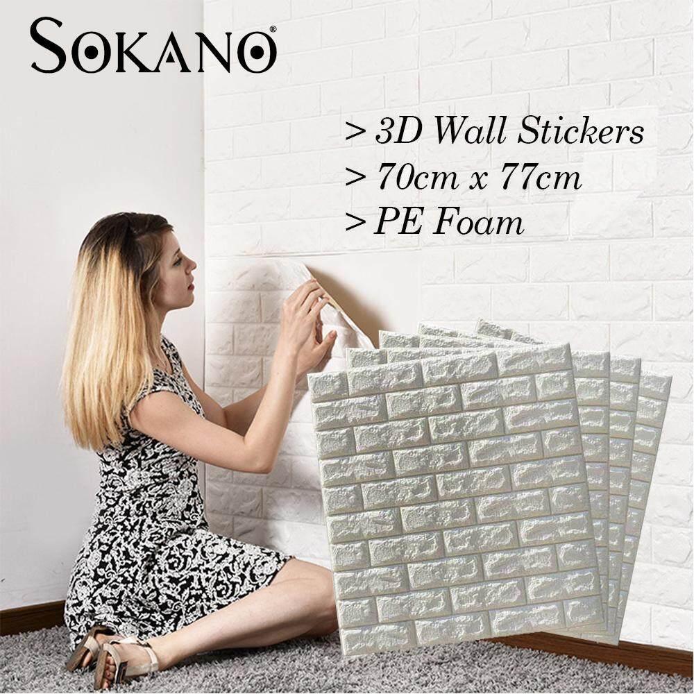 SOKANO 70x77cm PE Foam 3D Wall Stickers Safety Home Decor Wallpaper DIY Wall Decor Brick Living Room Kids Bedroom Decorative Sticker