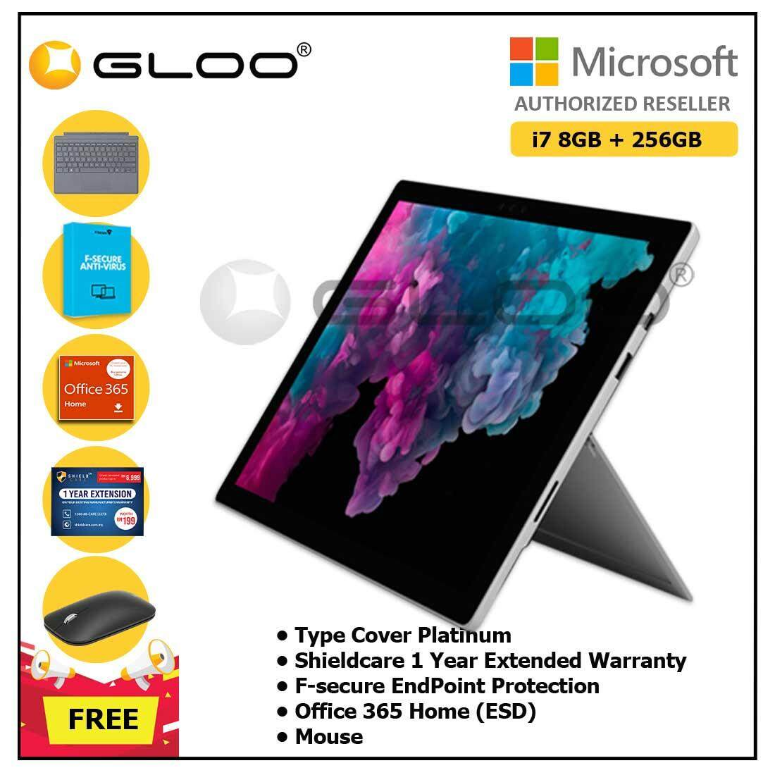 Microsoft Surface Pro 6 Core i7/8GB RAM - 256GB + Type Cover Platinum + Office 365 Home (ESD) + Shieldcare 1 Year Extended Warranty + F-Secure Endpoint Protection + Mouse
