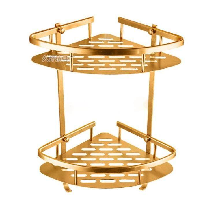 ALUMINIUM DOUBLE LAYER CORNER SHELF BATHROOM DOUBLE LAYER CORNER RACK SHELF 1850 GOLD