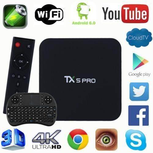 ยี่ห้อไหนดี  พระนครศรีอยุธยา TX5 PRO Quad Core สมาร์ทกล่องทีวี Android 6.0 S905X 2/16G 4 K WiFi กล่องสมาร์ททีวี + แป้นพิมพ์ I8