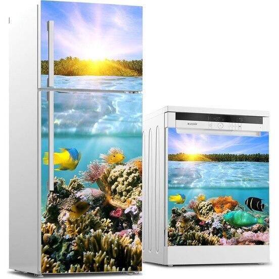 3D Tùy Chỉnh Máy Rửa Bát Tủ Lạnh Liên Lạc Với Giấy Nắng Biển Nhiệt Đới SE Tủ Đông Decal Bảng Điều Khiển Bao Da Trang Trí Tường Quà Tặng