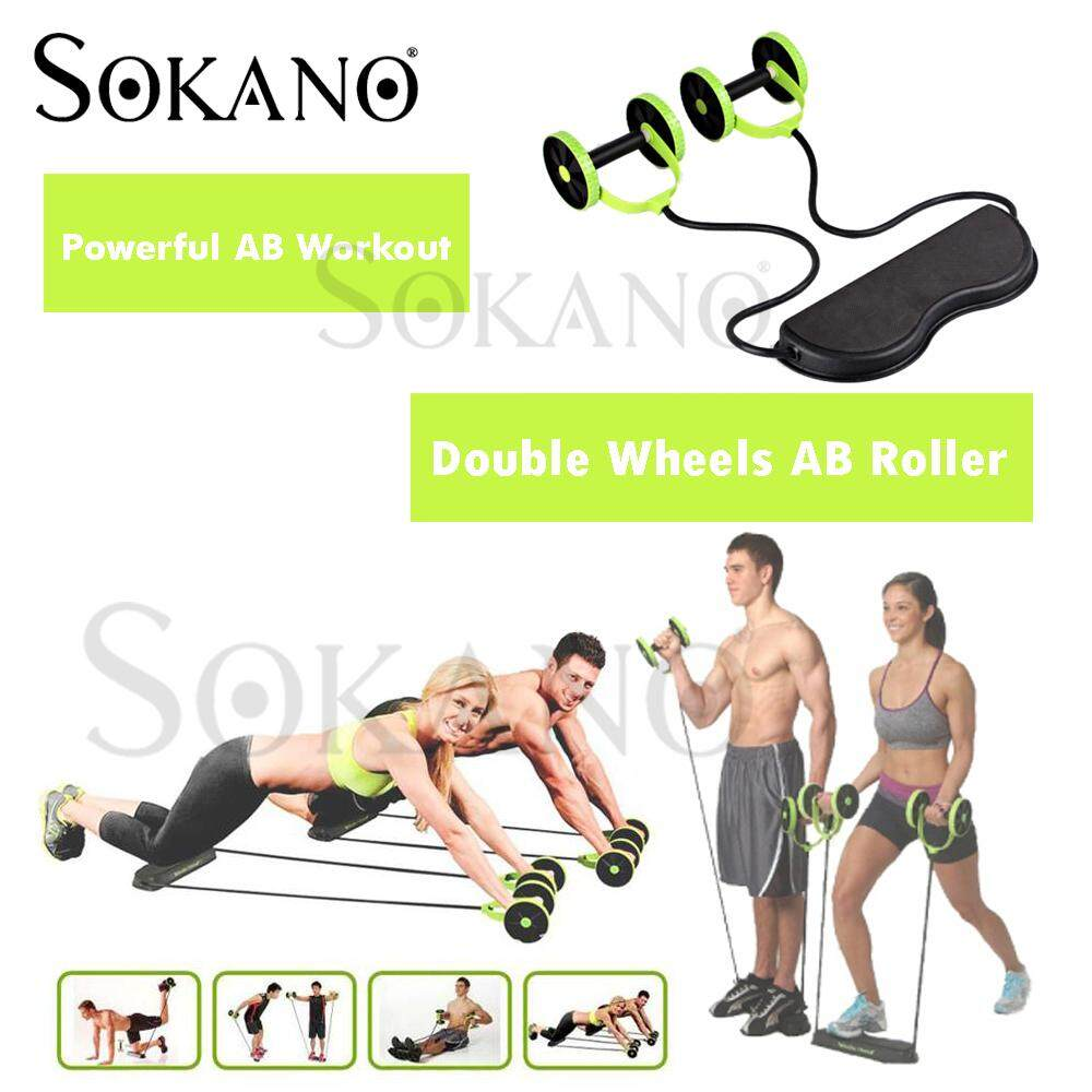 SOKANO Revoflex Double Wheels Ab Roller Pull Rope Abdominal Waist Slimming Exercise Apparatus