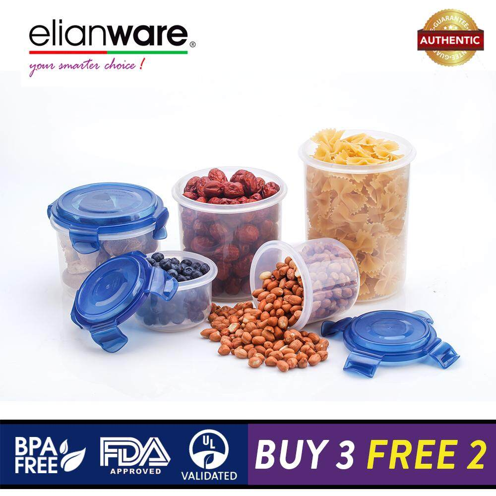 Elianware Ezy-Lock 100% Airtight Round Microwavable Food Container [BUY 3 FREE 2]