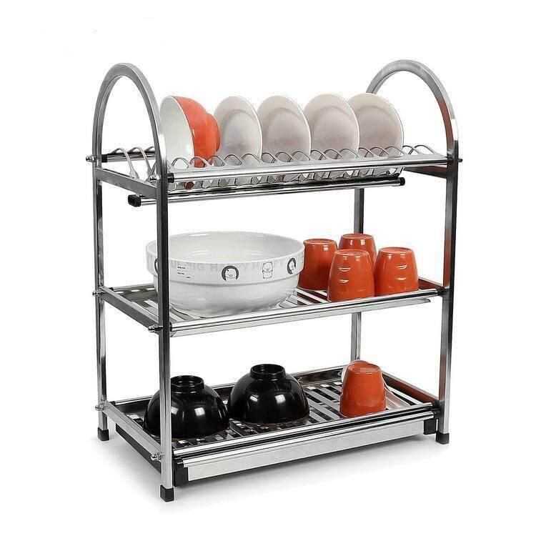 Alpha Living KTN0008AK 3 Tier Layer Stainless Steel Kitchen Storage Space Saving Dish Drainer Rack Draining Dishrack (45.5  X 26.5 X 55.5 cm)