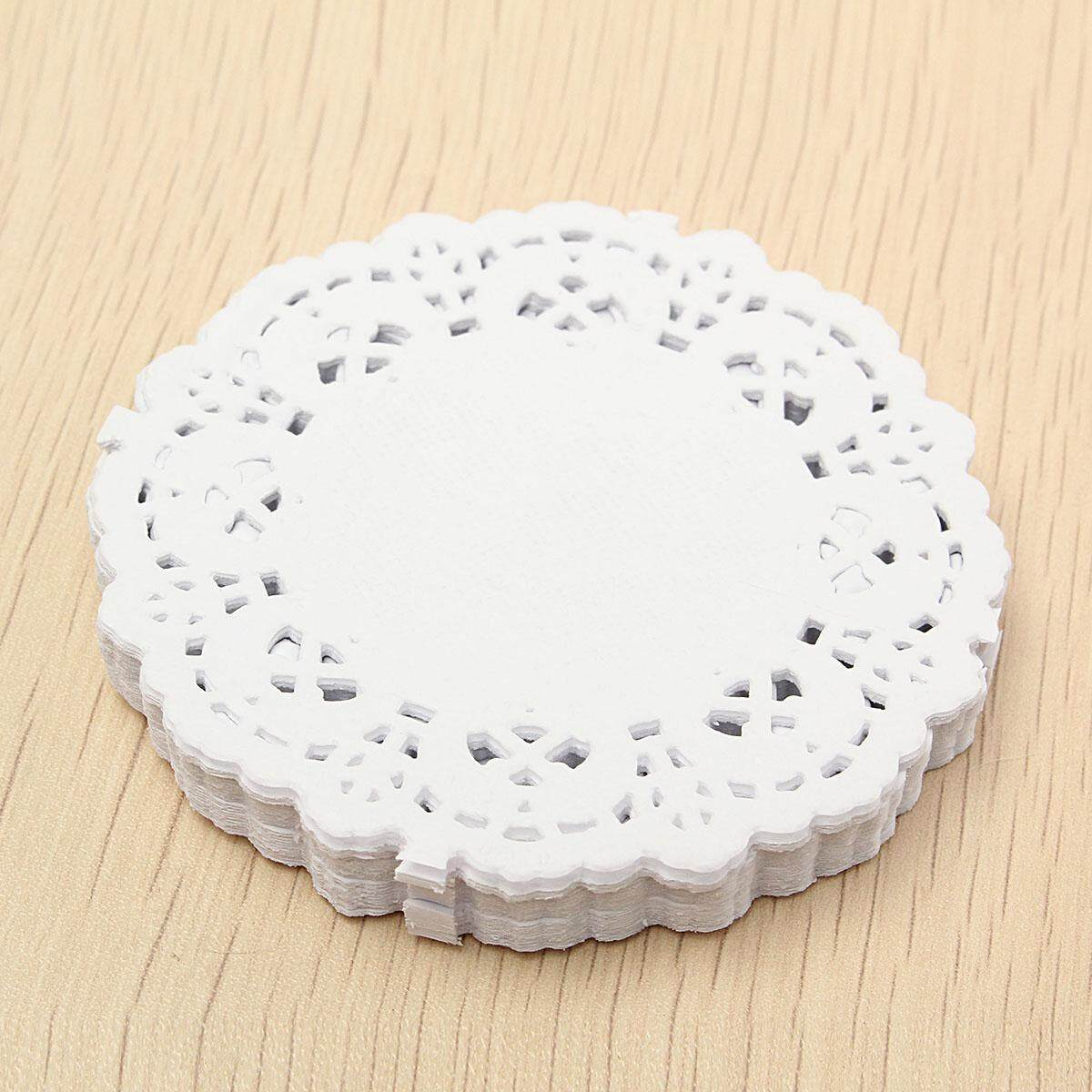100pcs White Food Grade Doylies Paper Wedding Party Decoration Multi Size Cake Lace