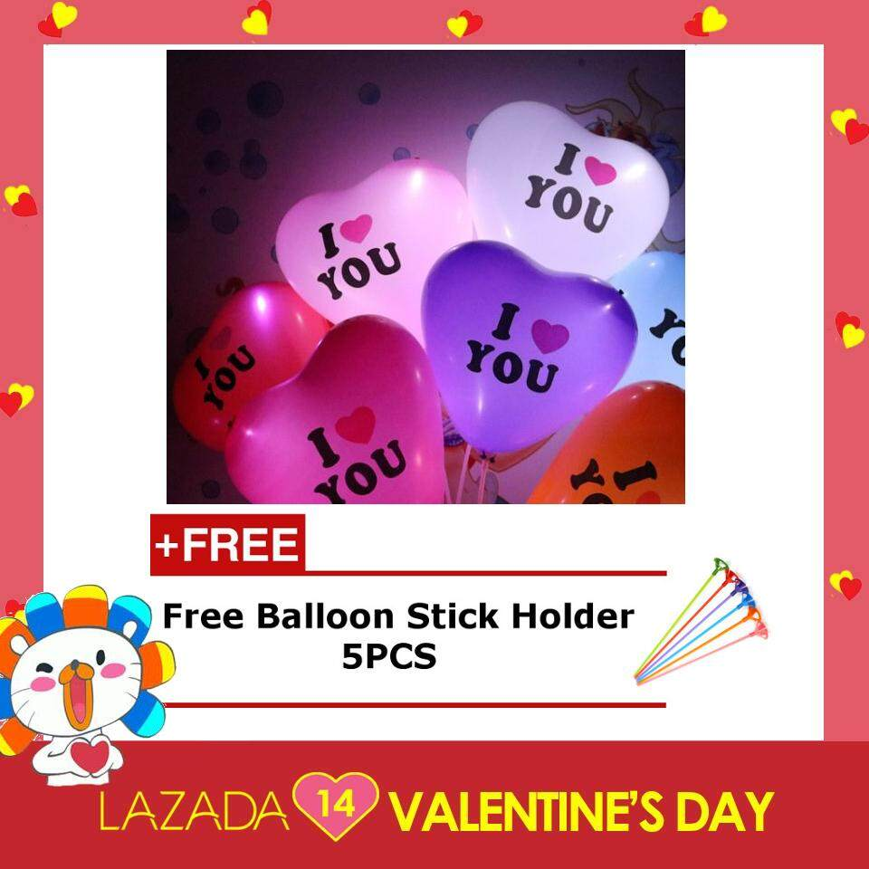 I LOVE YOU Love Shape LED Balloon  (5pcs)