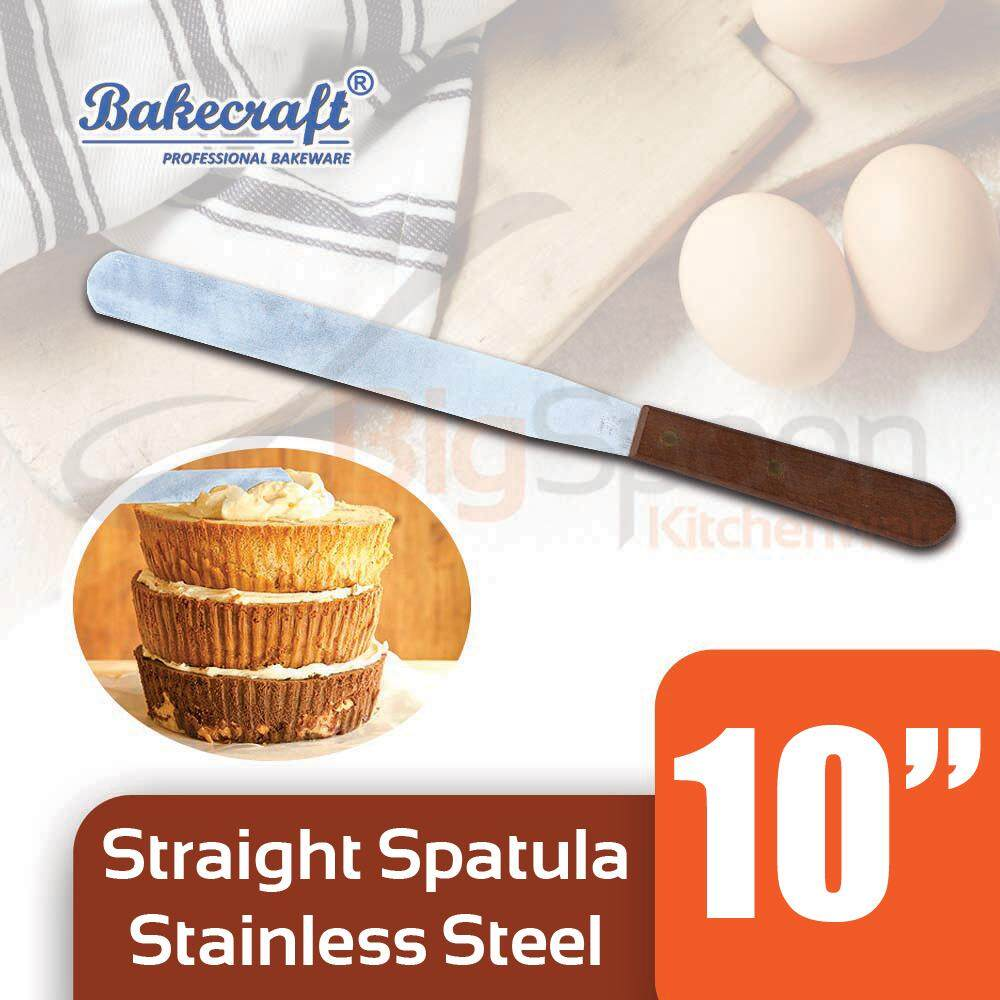 BAKECRAFT 10 inch Stainless Steel Spatula Kitchen Tool Wooden Handle Cake Spatula Cake Decorating Tool