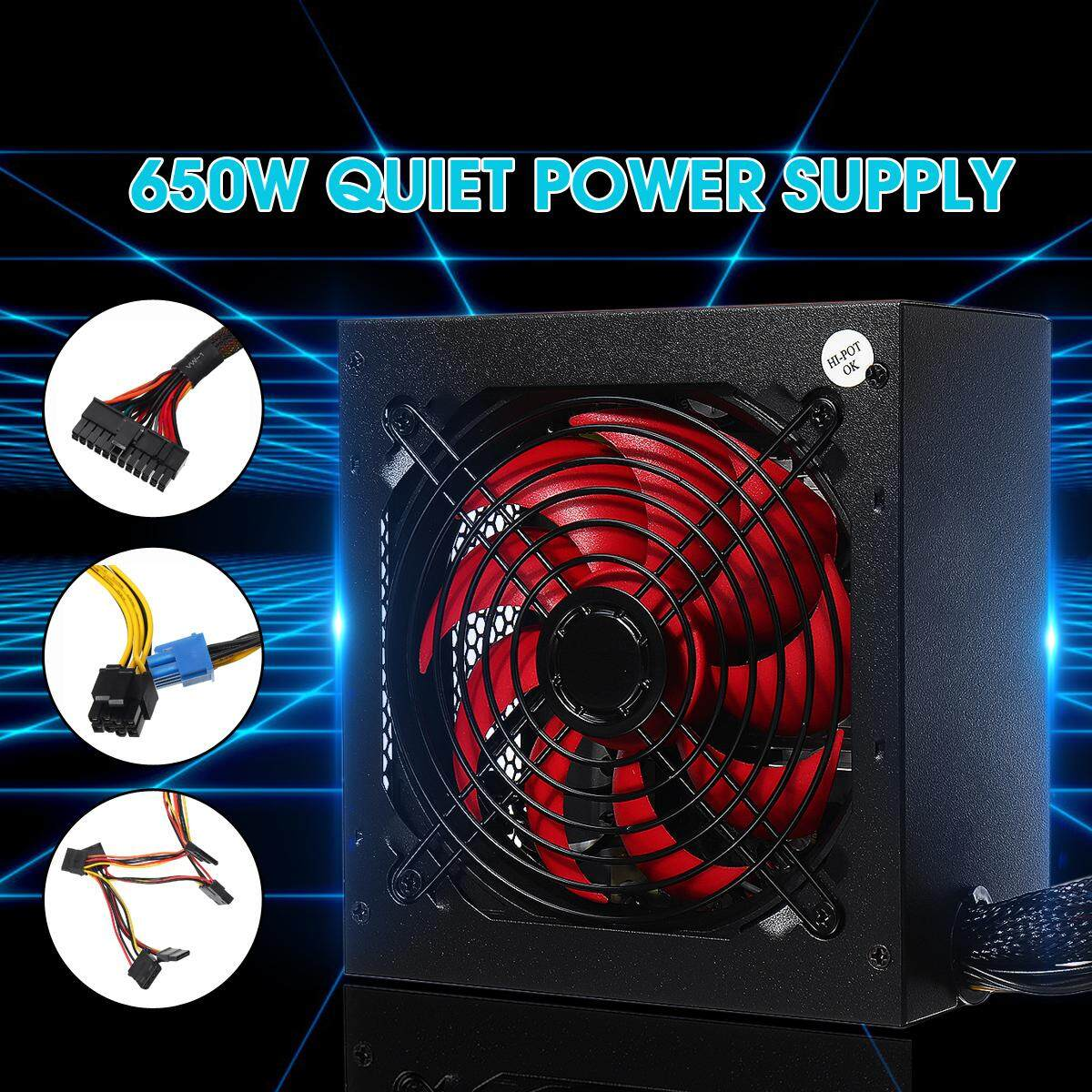 【Free Shipping + Super Deal】650W Gaming PC ATX Power Supply PFC Silent Fan 4-PIN for Desktop Computer