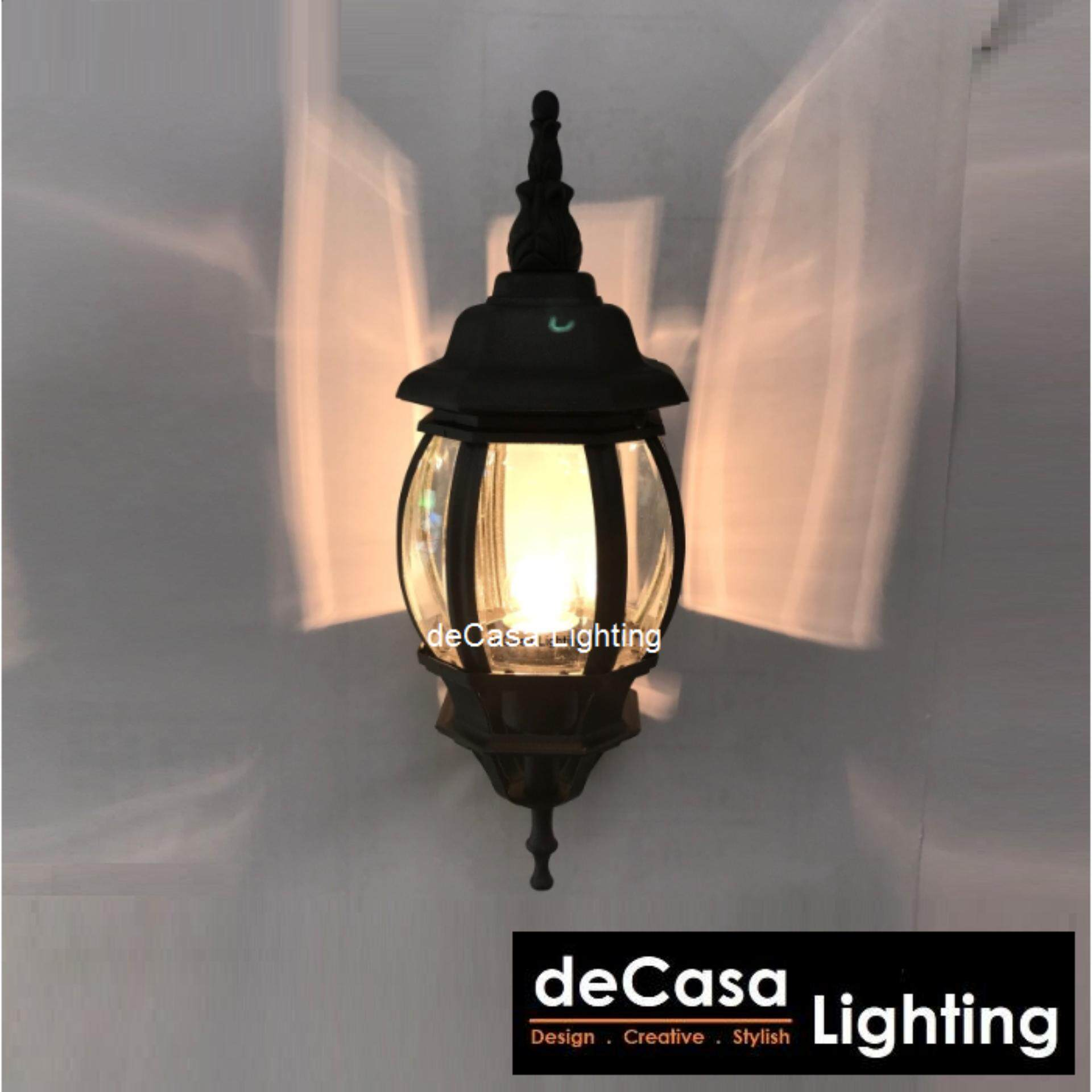 DECASA Best Seller Decorative Outdoor Wall Light E27 Lamp Holder Black Wall Light (OD-W5003N/S-BK)