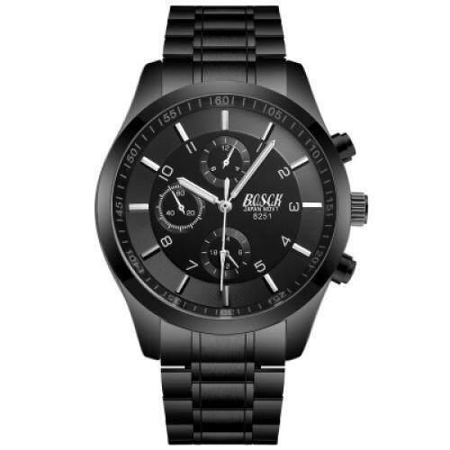 Bosck Male Recreational Noctilucent Waterproof Stainless Steel Quartz Watch (BLACK)