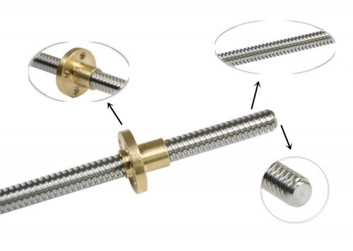 T8 Pitch 8mm lead Stainless Steel Lead Screw With Brass Nut for 3D Printer/CNC