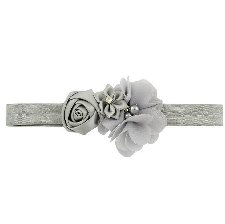 [KL Ready Stock] Infant Baby Girl Elegant Flower Pearl Bling Elastic Hairband Premium Quality