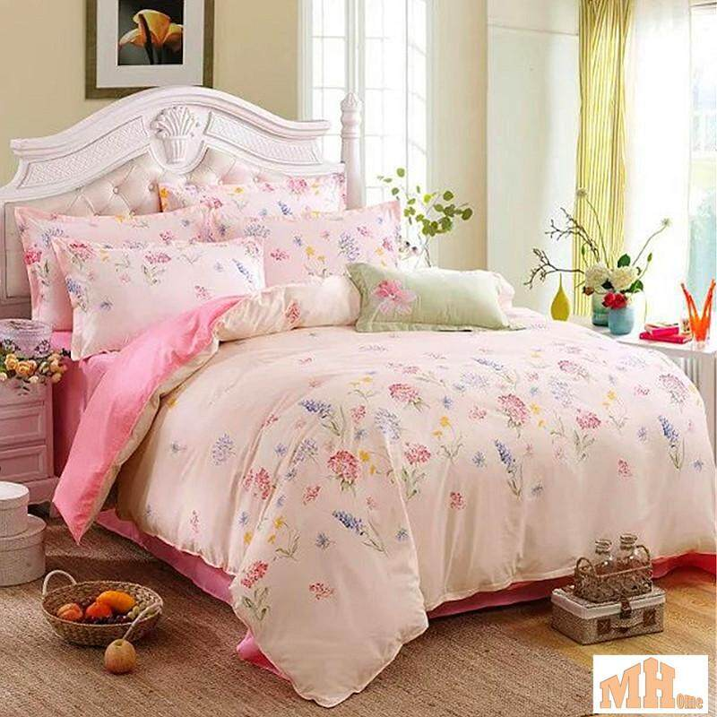 Maylee High Quality 4pcs Pink Flower Queen Fitted Bedding Set (FM-PIFLO)