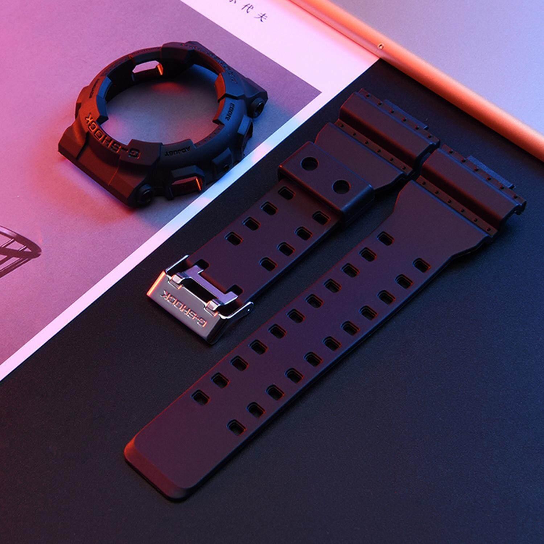 แฟชั่นปรับยางกันน้ำเปลี่ยนสายนาฬิกาข้อมือ + ฝาครอบป้องกันใช้งานร่วมกับ Casio G-Shock GA-110 GA100 GD-120 นาฬิกาเครื่องประดับสีดำ