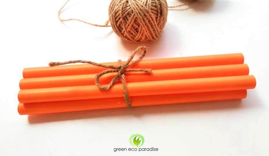 12mm Large Paper Straw [Orange] 4000 pieces/carton