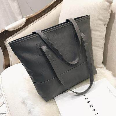 Women Korean Wild Fashion Soft Leather Square Large Tote Bag