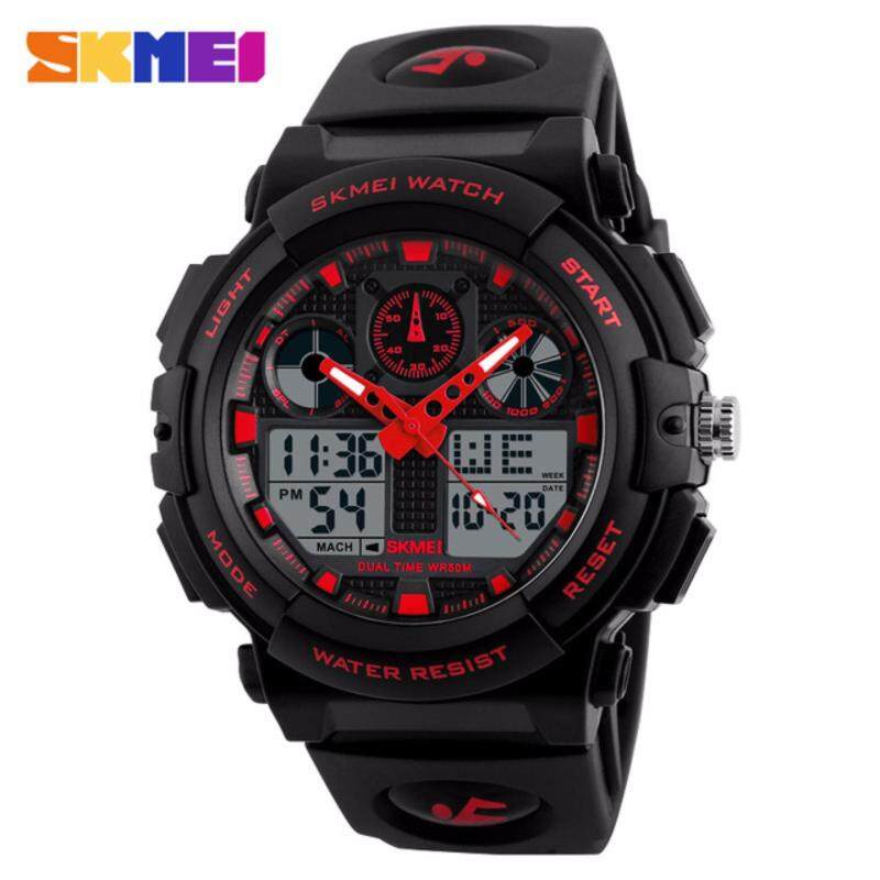 [1 day Shipping] SKMEI Mens Rugged Dual Digital Analog Multifunction EL Sport Watch Malaysia