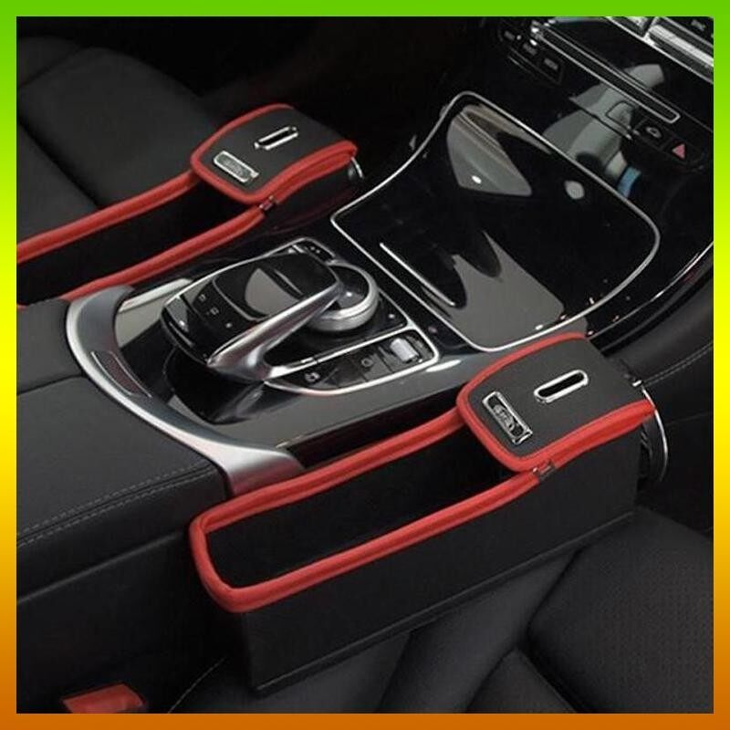 1 Pair Black/Red Color Leather Car Seat Slit Gap Organizer Console Catcher Filler Storage Box Coin Cup Holder Bag Side Pocket Vehicle Container Mounted