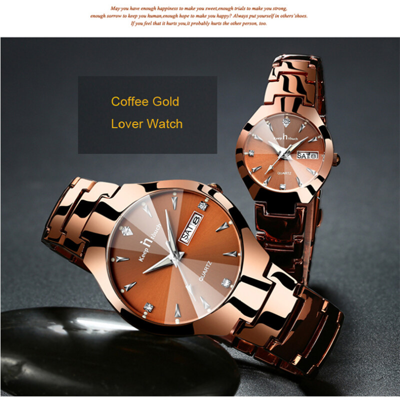 1 Pair Brand Luxury Lover Watches Quartz Calendar Dress Women Men Watch For Couples 2017 New Fashion Wristwatch With Box -Coffee Malaysia