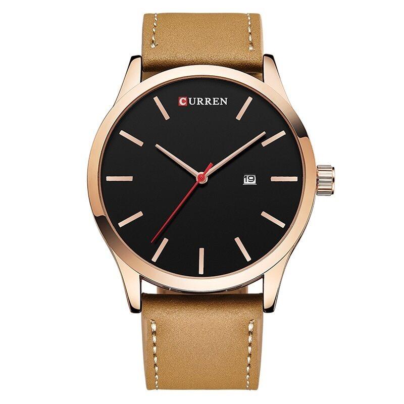 (100% Authentic) CURREN 8214 Luxury Brand Quartz Watch Leather Strap Dress Wristwatches Sport (Rose Gold Black) Malaysia