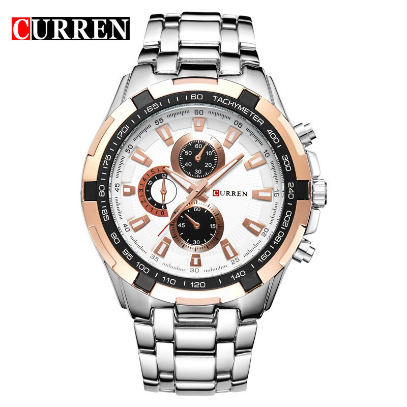 (100% Authentic) Curren Mens Black Stainless Steel Strap Watch 8023 (Japan Movement 7T35) Malaysia