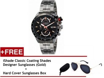 (100% Authentic) Curren Men's Silver Stainless Steel Strap Watch (Japan Movement 7T35) (Gold) Free iShade Classic Coating Shades Designer Sunglasses (Gold)