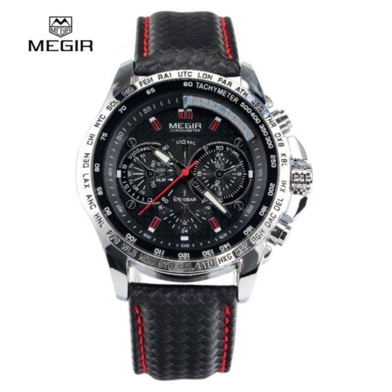 [100% Authentic] MEGIR M1010 Male Quartz Watch Multi-functional Water Resistance Wristwatch (Black) Malaysia