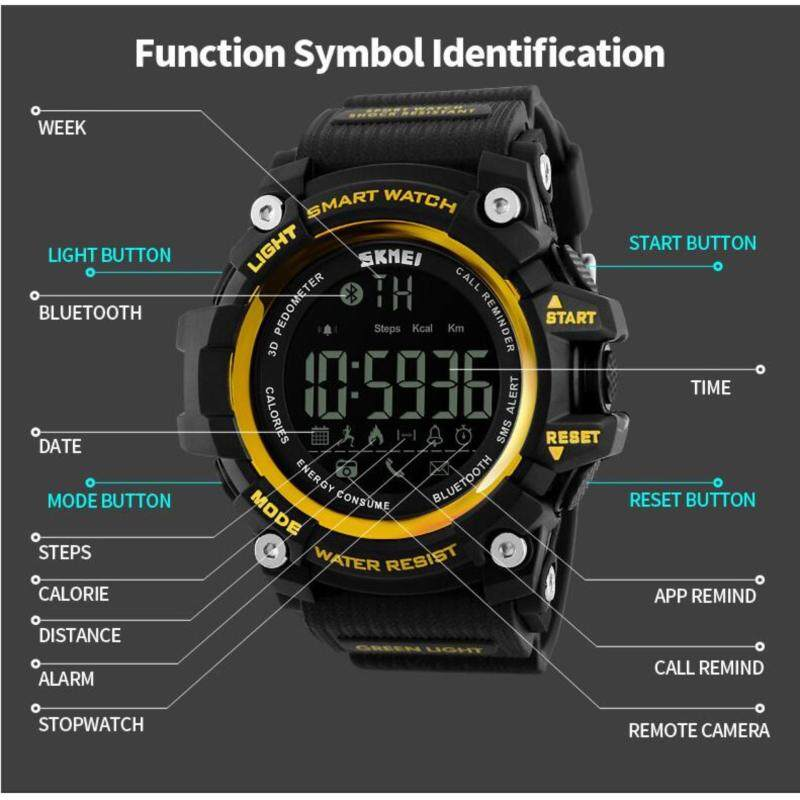 [100% Genuine] SKMEI Men Smart Watch Pedometer Calories Chronograph Fashion Sport Watches Chronograph 50M Waterproof Digital Wristwatches 1227 Malaysia
