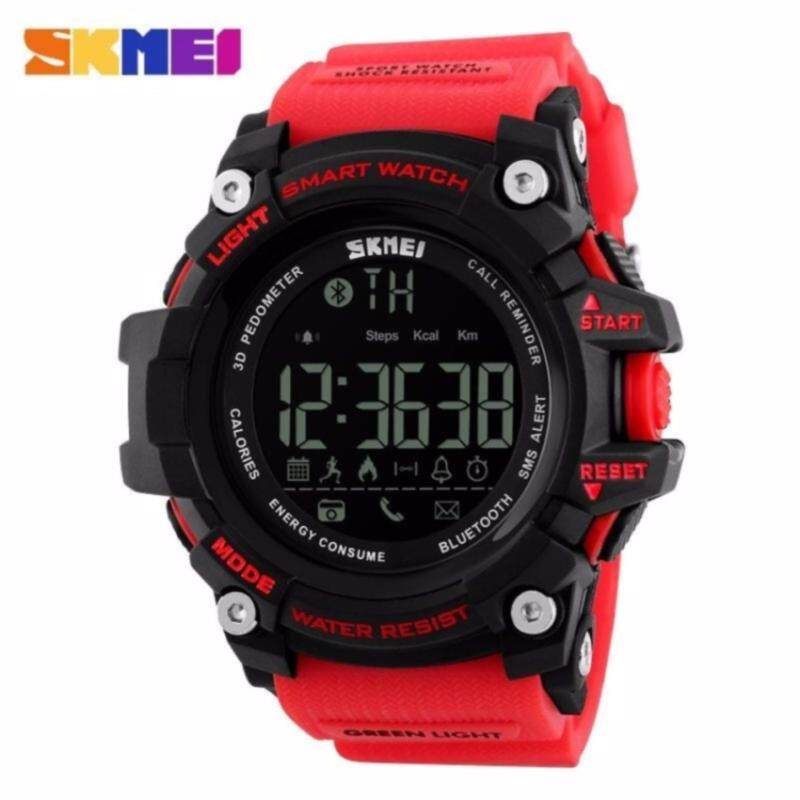 [100% Genuine] SKMEI Men Smart Watch Pedometer Calories Chronograph Fashion Sport Watches Chronograph 50M Waterproof Digital Wristwatches - 4 Colors Available - Red Malaysia