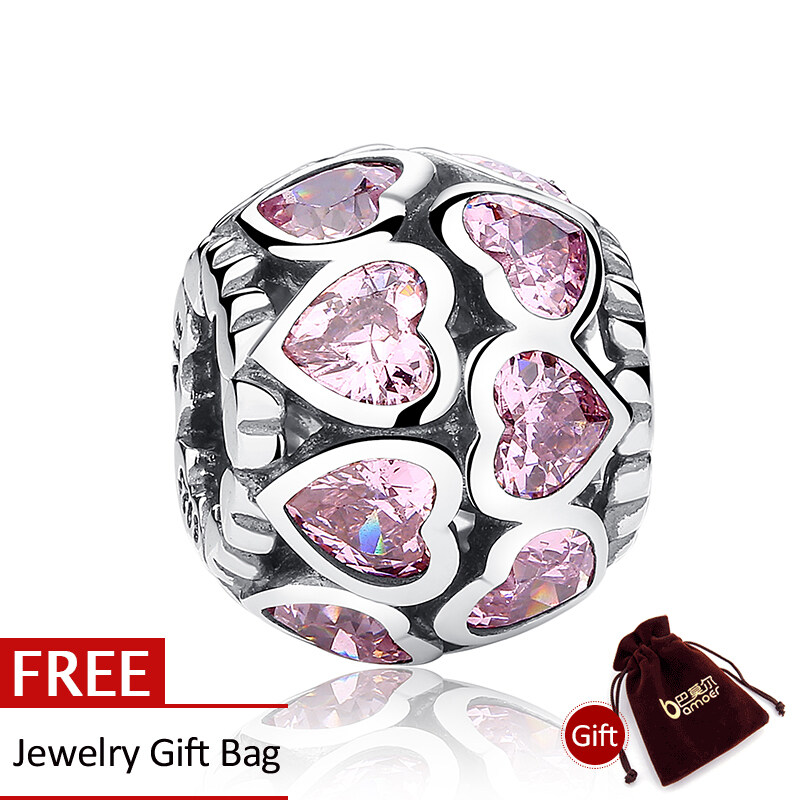 Diskon Produk 100 Sterling 925 Silver Charms Love All Around Fancy Pink Cz Fit Bracelet Necklace Pas065