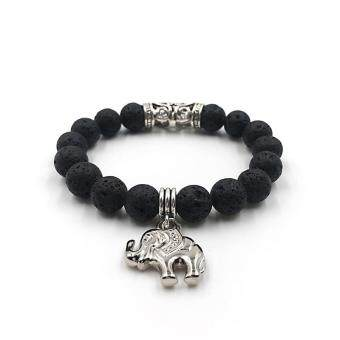 Harga 10MM Black Lava Beads Prayer Buddha Bracelet Nature Stone CharmBracelets & Bangles For Women Men Fashion Pulseras!!!