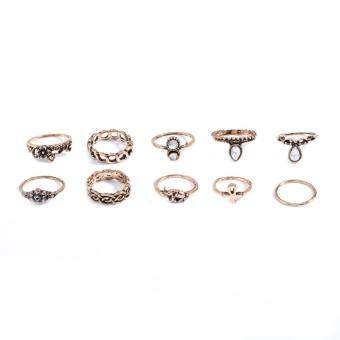Harga 10pcs set New Fashion European and American trade exaggerated retroring ten sets of small