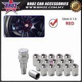 Broz 12mm x 1.50 Red Racing Wheel Lug Nut Lock Kit Closed End with Key Tool (16pcs)