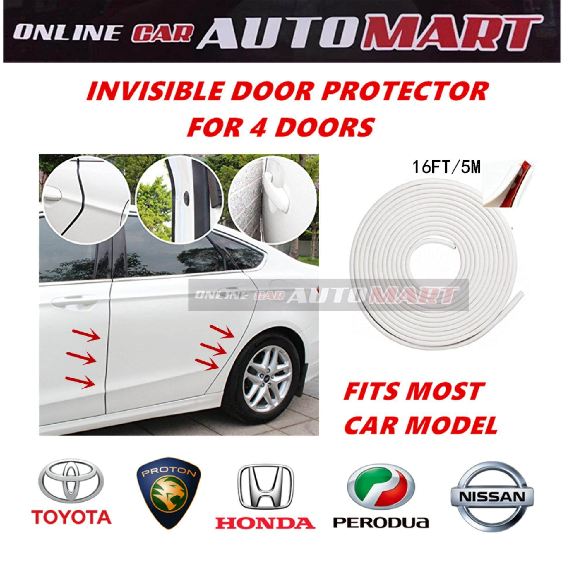 16FT/5M (WHITE) Moulding Trim Rubber Strip Door Scratch Protector Car Styling Invisible Rubber Tape (4 Doors) Fits Most Proton,Perodua,Toyota,Honda,Nissan Cars
